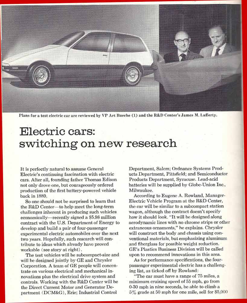 History Of Electric Cars 1990 Ford Wiper Motor Wiring Diagram At Ge In The 1970s